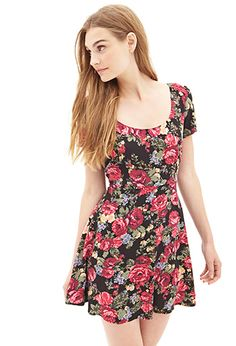 Woven Floral Skater Dress | FOREVER21 - 2000058995 SO CUTE PLEASE BUY ME THIS ITS ONLY $17.80!