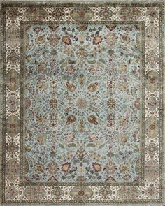 GSM GA Tudor Blue Ivory - GSM GA Tudor Blue Ivory  Country Of Origin: India  Material: Hand-Spun Wool   Weave: Fine Persian  Available Sizes: (4x6) (5x7) (6x9) (8x10) (9x12) (10x14) (12x15) (12x18) (Runners) CUSTOM SIZE AVAILABLE  CONTACT FOR PRICING AND AVAILABILITY GallerieOne@GallerieOne.com *PLEASE REFERENCE GSM GA Tudor Blue Ivory*