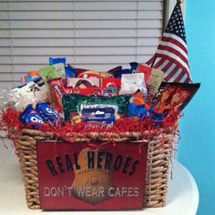 Fire Fighter's Appreciation Basket with metal sign fastened to the front with quick ties