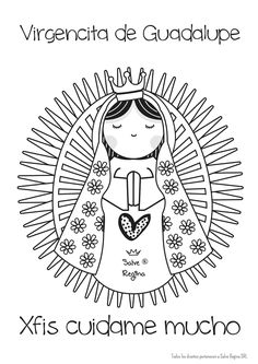 Virgen de Guadalupe Catholic Crafts, Catholic Kids, Coloring Book Art, Cute Coloring Pages, Church Activities, Catechism, Posca, Pallet Art, Mandala Pattern
