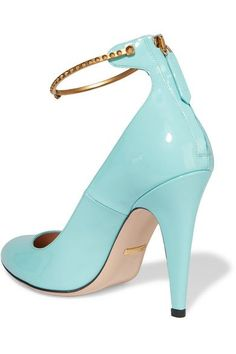 Heel measures approximately 105mm/ 4 inches Light-blue patent-leather Zip fastening along back Designer color: Aqua Marine Made in Italy
