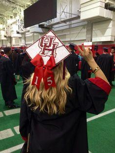 UH Texas graduation cap decorated