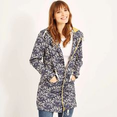 Buy Manitou Printed Showerproof Parka Jacket Dark Navy from Weird Fish Clothing. Weird Fish, Spring Shower, Great Lengths, Fishing Outfits, Cool Jackets, Dark Navy, Parka, Thighs, Raincoat