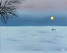 Kigoma Painting, 14 x 11, Oil Painting, Original Art, Landscape Painting, Sunset Painting, Africa Painting, Tanzania Painting, Palm Tree Art by CFineArtStudio on Etsy