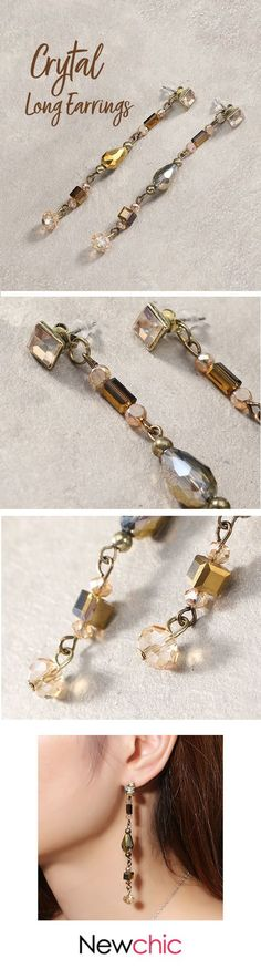 [Newchic Online Shopping] US$ 5.59 Long Elegant Crystal Earrings