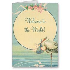 vintage Baby Boy cards | vintage_stork_baby_boy_blanket_welcome_to_world_card ...