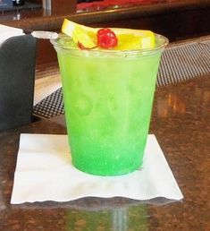 Welsh Dragon Recipe served at Rose and Crown Dining Room in EPCOT at Disney World 3/4 ounce peach schnapps 3/4 ounce melon liqueur 1/2 ounce green crème de menthe orange juice pineapple juice