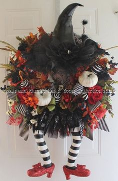"""Halloween Wreath -Wicked Witch w/ Ruby Red Slippers -  """"Halloween Hat n' Boots Collection"""" halloween-wreath-fall-thanksgiving-wreaths-and-dec"""