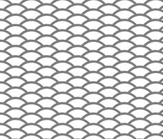 Gray scallop on white background fabric by ambitodesign on Spoonflower - custom fabric