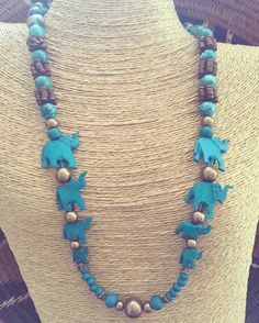 Teal Elephant Necklace Wooden Beaded by RedSilentWolfJewelry