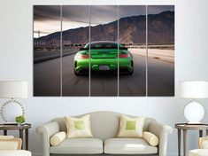 Classic Sports Car on Canvas Oil Painting Posters and Prints Decorations Wall Art Picture Living Room Wall Ready to 24x36 inch,Unframed