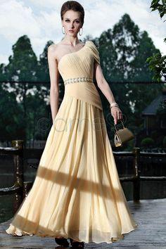 A Linie Chiffon Perlen eine Schulter Perlengürtel klassisches & zeitloses plissiertes Abendkleid