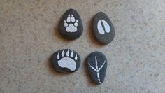 Painted animal tracks rocks