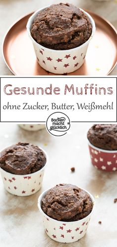 Gesunde Schoko-Muffins Healthy chocolate muffins without sugar, white flour and butter – which are super juicy and wonderfully aromatic. This simple recipe for clean eating chocolate muffins convinces everyone – even the perfect healthy. Healthy Chocolate Muffins, Clean Eating Chocolate, Clean Eating Desserts, Healthy Muffins, Healthy Desserts, Baking Chocolate, Flourless Chocolate, Chocolate Desserts, Healthy Eating