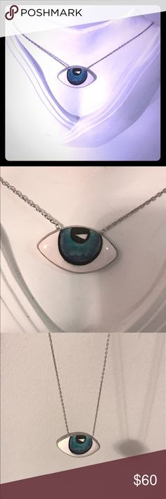 .925 silver evil eye necklace painted Murano glass .925 sterling silver, 18k white gold plated, evil eye necklace, hand painted Murano glass Casa Di Bling Jewelry Necklaces