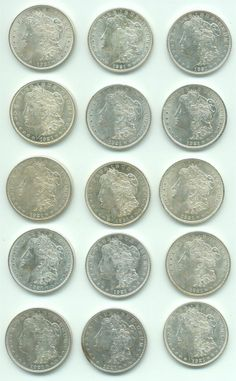 Group of 15 US $1 1921 Morgan Silver Dollars Coins