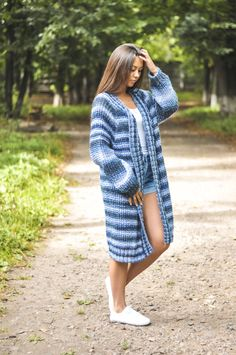 knitted women mohair cardigan, very pretty and casual cardigan, handmade work Purple Jeans, Long Vests, Blue Cardigan, Sweaters For Women, Women's Sweaters, Grey Sweatshirt, Handmade Clothes, Mantel, Winter Outfits