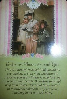 02/03/15  Today's card was drawn from the Guardian Angel Tarot Cards by Doreen Virtue and Radleigh Valentine.  Today's Card is # 5 Embrace Those Around You. It's so important to surround yourself with ...