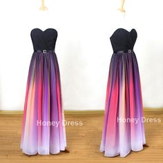 Gradient Color Chiffon Sweetheart Beach Pleats Floor Length Evening Dresses, Ombre Elie Prom Dresses