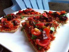 Raw Vegan Tasty Olive Pizza with 2 Minute Mariana Sauce