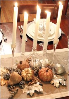 Inspiration for an easy, but sophisticated and beautiful Thanksgiving centerpiece.