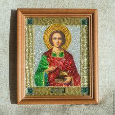 Купить Икона св.великомученик и целитель Пантелеимон - тёмно-зелёный, икона бисером, Икона из бисера