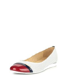 JOANA & PAOLA White & red perforated leather pumps, Designer Footwear Sale, Flat Shoe Boutique at SECRETSALES.com