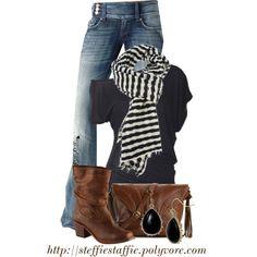 Black, Brown & Stripes, created by steffiestaffie on Polyvore