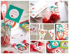 This colorful Matryoshka Babushka printable and personalized kit by Lafabriqueabricole on Etsy