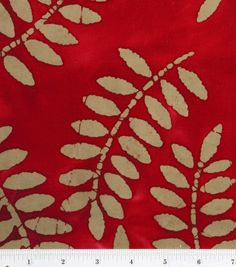 Batik Fabric-Red Leaves