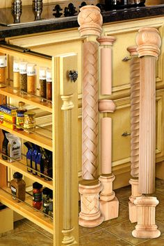 """Outwater introduces Design-A-Column, a series of Hard Maple or Cherry, Fluted or Plain half-rounds, which when used in conjunction with the various available design elements comprising """"Half"""" Caps & Bases, Center Spindles, and End Blocks, enables you to mix and match the components within the system to create custom traditional or contemporary designs for use as decorative ornamentation for cabinetry, islands and furniture."""