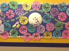 January Bulletin Board: Extra large coffee filters cut and painted with sparkle paint.