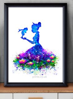 Disney Tiana Princess and the Frog Watercolor Painting Art Poster Print Wall Decor https://www.etsy.com/shop/genefyprints