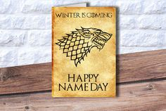 Game of Thrones birthday card Happy Name day card by PrintTransfer #gameofthrones #got #card #happybirthday #nameday #winteriscoming #stark