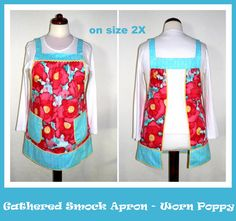 Adding new aprons regularly!  Come see what's new today:  Loose Fitting Gathered Smock Apron  Worn Poppy by LauriesGiftsBiz, $40.00