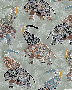 Bombay - Prancing Elephants - Stone Gray