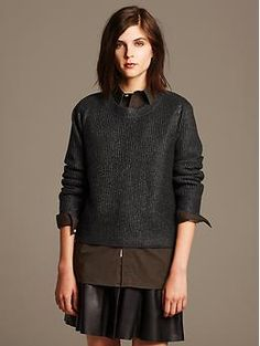Heritage Foil Cropped Pullover   Banana Republic