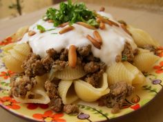 PASTA WITH GROUND BEEF & GARLIC YOGURT..apparently its  a syrian comfort food..but looks GOOD!!!!