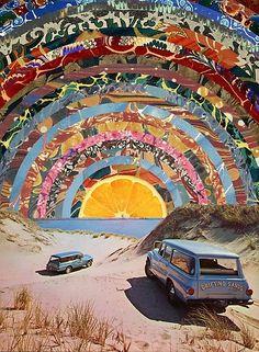 Orange sunset Art Print by Blaž Rojs Collage Kunst, Surreal Collage, Surreal Art, Wall Collage, Collages, Collage Artwork, Collage Portrait, Collage Background, Color Collage