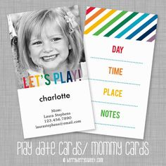 berryberrysweet.com: Play Date Cards/ Mommy Cards