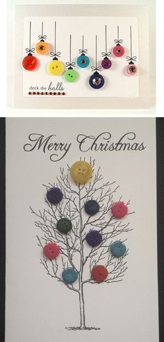 DIY Button Cards | Click Pic for 20 Easy Christmas Cards for Kids to Make | DIY…