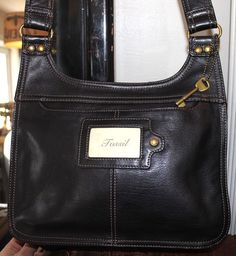 Fossil Black Leather Slim Cross Body Shoulder Hand Bag #FossilBrand #CrossBodyShoulderhandbag