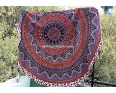 Multicolored Elephant Mandala Tapestry Roundie Beach Rug, Indian Bohemian Round Roundie Beach Throw Tapestry Hippy Boho Gypsy 100% Cotton Tablecloth Beach Towel by Vedindia
