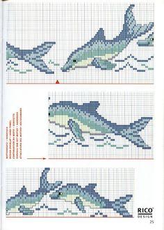 ♥Meus Gráficos De Ponto Cruz♥: Peixes e Golfinhos em Ponto Cruz-Barras para Toalhas