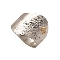 Wide ring wavy with rough texture and gold detail Ring in Sterling Silver