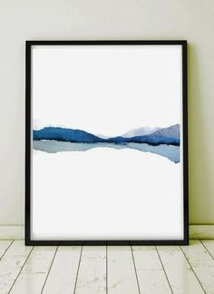 Modern Landscape Print of Abstract Watercolor Painting. Grey, Blue, White, Black. NancyKnightArt.etsy.com IMPORTANT NOTE: to see this print in a  #ModernLandscaping