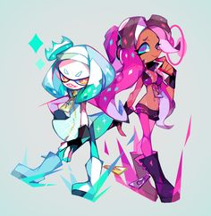 Safebooru is a anime and manga picture search engine, images are being updated hourly. Splatoon 2 Art, Splatoon Comics, Character Concept, Character Design, Girl 3d, Pearl And Marina, Only Play, Kid Memes, Pokemon