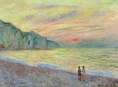 Claude Monet - Sunset at Pourville 1882 at The Kreeger Art Museum Washington DC Claude Monet, Post Impressionism, Impressionist Paintings, Monet Paintings, Landscape Paintings, Renoir, Artist Monet, French Art, Land Art