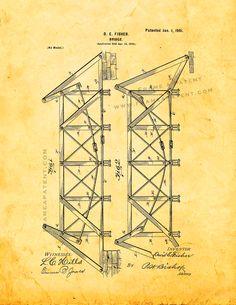 Brooklyn bridge blueprint vintage new york brooklyn bridge bridge patent print golden look 5x7 malvernweather Images