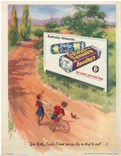 18 September 1957 Vintage Food Posters, Vintage Advertising Posters, Old Advertisements, Vintage Candy, Retro Vintage, Vintage Colors, Vintage Prints, Violet Crumble, Ice Cream Poster